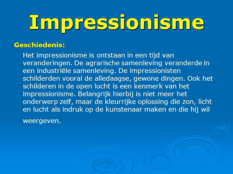 Impressionisme Geschiedenis: Het impressionisme is ontstaan in een tijd van veranderingen. De agrarische samenleving veranderde in een industriële sam