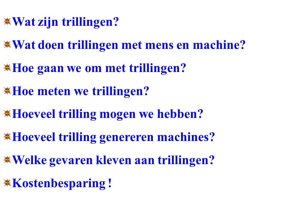 Wat zijn trillingen? Wat doen trillingen met mens en machine? Hoe gaan we om met trillingen? Hoe meten we trillingen? Hoeveel trilling mogen we hebben