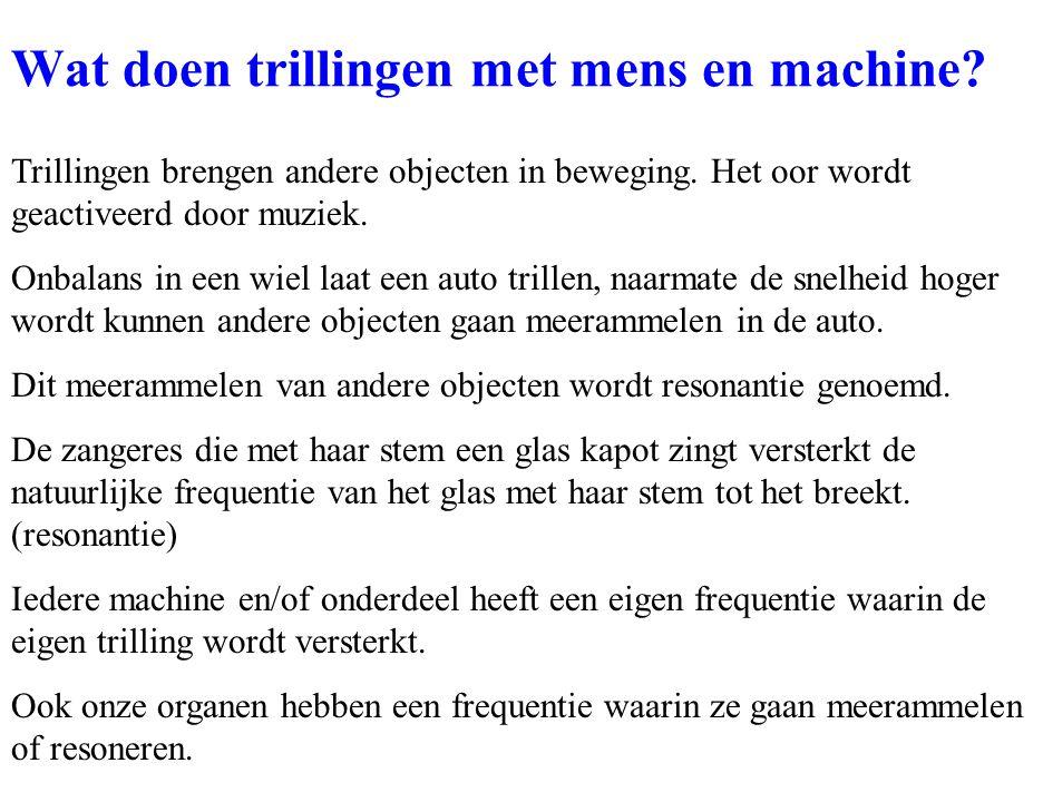 Wat doen trillingen met mens en machine? Trillingen brengen andere objecten in beweging. Het oor wordt geactiveerd door muziek. Onbalans in een wiel l