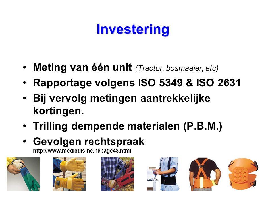 Investering •Meting van één unit (Tractor, bosmaaier, etc) •Rapportage volgens ISO 5349 & ISO 2631 •Bij vervolg metingen aantrekkelijke kortingen. •Tr