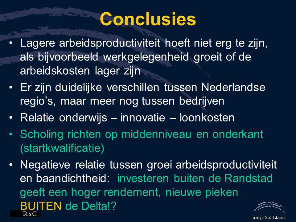 Conclusies •Lagere arbeidsproductiviteit hoeft niet erg te zijn, als bijvoorbeeld werkgelegenheid groeit of de arbeidskosten lager zijn •Er zijn duide