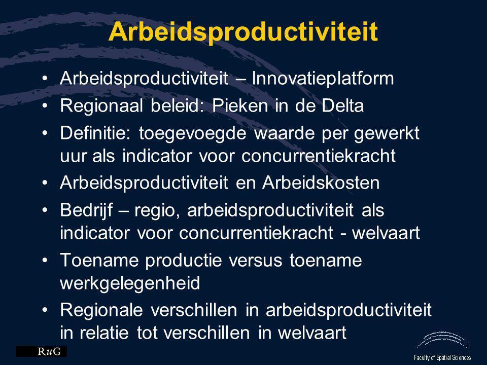 Arbeidsproductiviteit •Arbeidsproductiviteit – Innovatieplatform •Regionaal beleid: Pieken in de Delta •Definitie: toegevoegde waarde per gewerkt uur
