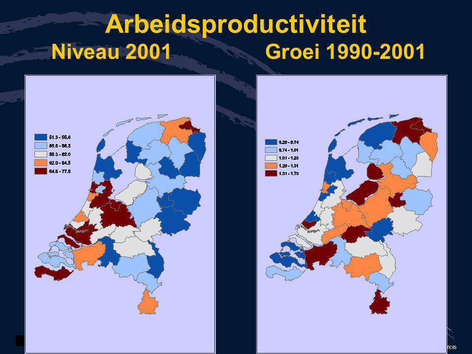 Arbeidsproductiviteit Niveau 2001 Groei 1990-2001