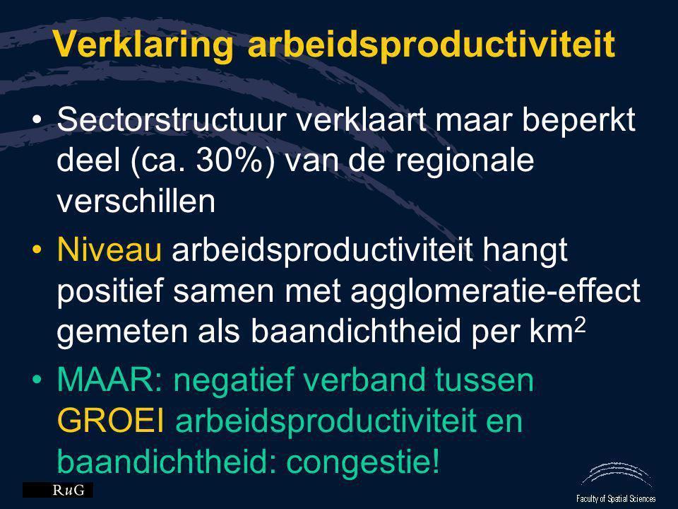 Verklaring arbeidsproductiviteit •Sectorstructuur verklaart maar beperkt deel (ca. 30%) van de regionale verschillen •Niveau arbeidsproductiviteit han