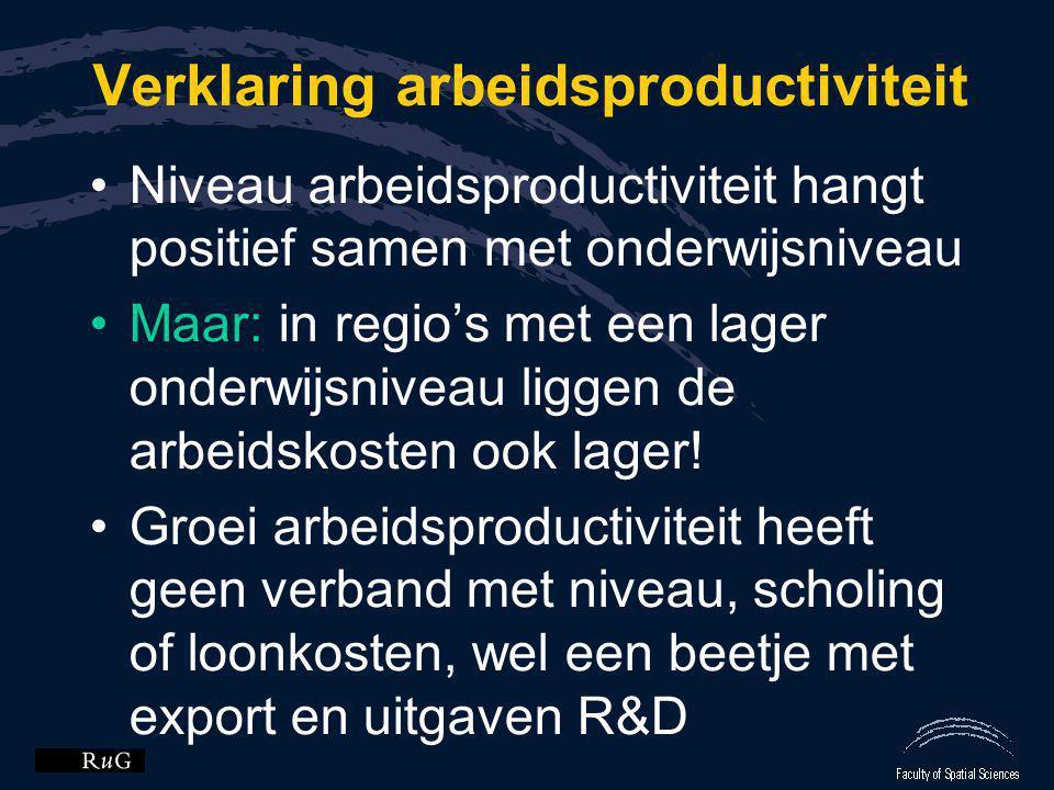 Verklaring arbeidsproductiviteit •Niveau arbeidsproductiviteit hangt positief samen met onderwijsniveau •Maar: in regio's met een lager onderwijsnivea
