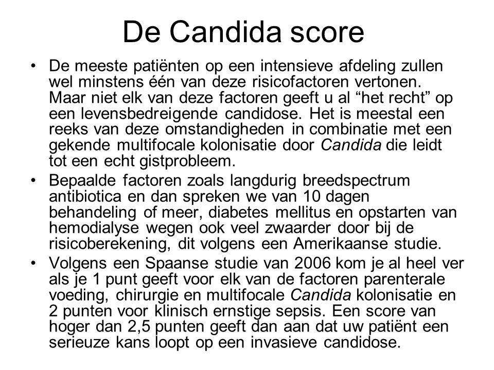 De Candida score •De meeste patiënten op een intensieve afdeling zullen wel minstens één van deze risicofactoren vertonen. Maar niet elk van deze fact