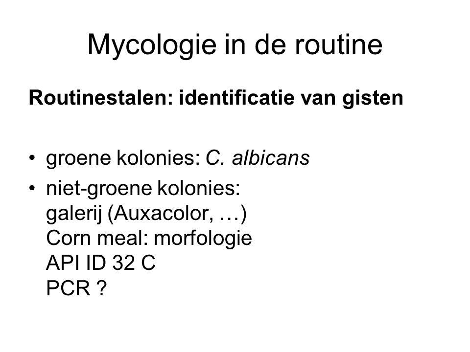 Mycologie in de routine Routinestalen: identificatie van gisten •groene kolonies: C. albicans •niet-groene kolonies: galerij (Auxacolor, …) Corn meal: