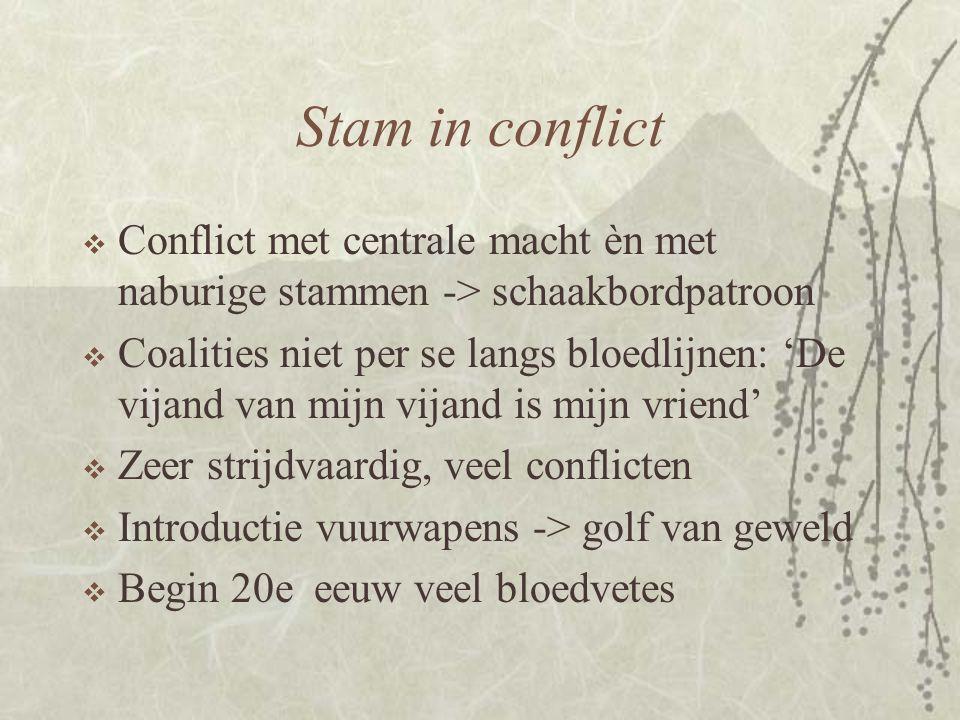 Stam in conflict  Conflict met centrale macht èn met naburige stammen -> schaakbordpatroon  Coalities niet per se langs bloedlijnen: 'De vijand van