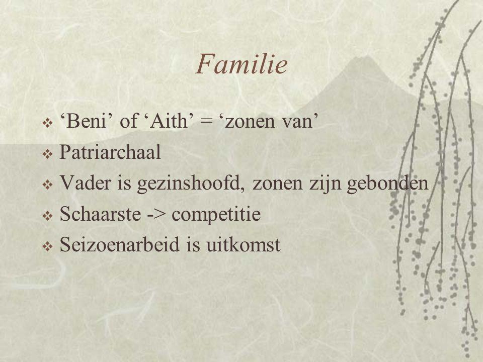 Familie  'Beni' of 'Aith' = 'zonen van'  Patriarchaal  Vader is gezinshoofd, zonen zijn gebonden  Schaarste -> competitie  Seizoenarbeid is uitko