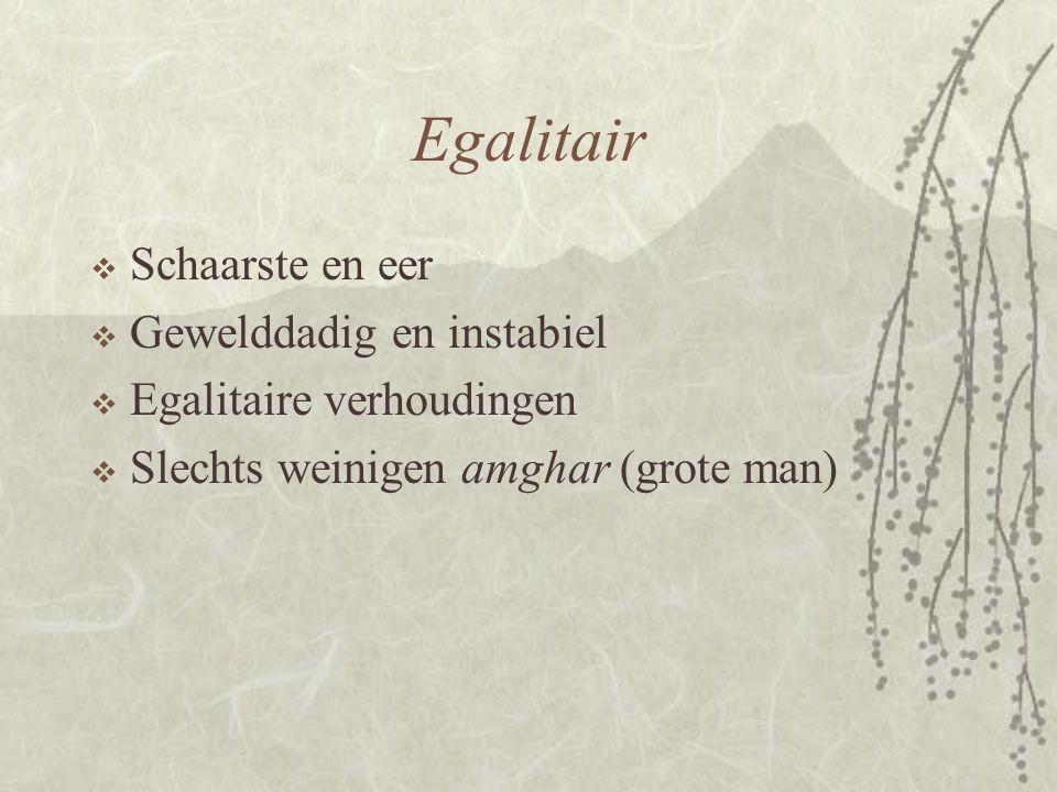 Egalitair  Schaarste en eer  Gewelddadig en instabiel  Egalitaire verhoudingen  Slechts weinigen amghar (grote man)