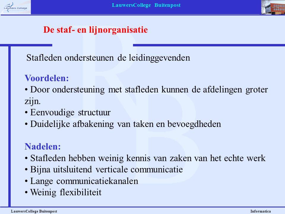 LauwersCollege Buitenpost LauwersCollege Buitenpost Informatica Voordelen: • Door ondersteuning met stafleden kunnen de afdelingen groter zijn. • Eenv