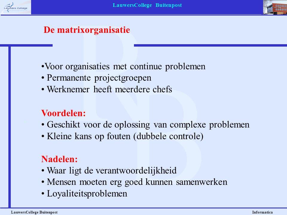 LauwersCollege Buitenpost LauwersCollege Buitenpost Informatica Voordelen: • Geschikt voor de oplossing van complexe problemen • Kleine kans op fouten