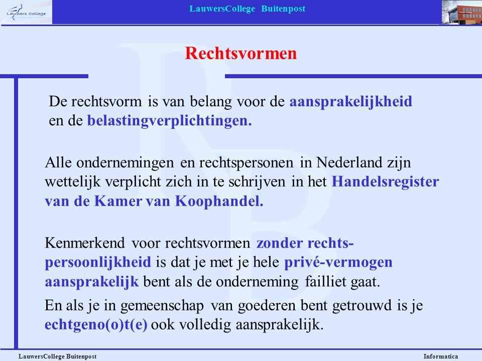 LauwersCollege Buitenpost LauwersCollege Buitenpost Informatica Rechtsvormen De rechtsvorm is van belang voor de aansprakelijkheid en de belastingverp