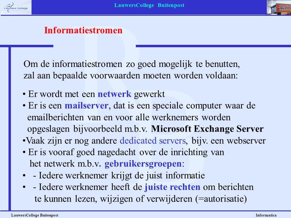 LauwersCollege Buitenpost LauwersCollege Buitenpost Informatica • Er wordt met een netwerk gewerkt • Er is een mailserver, dat is een speciale compute