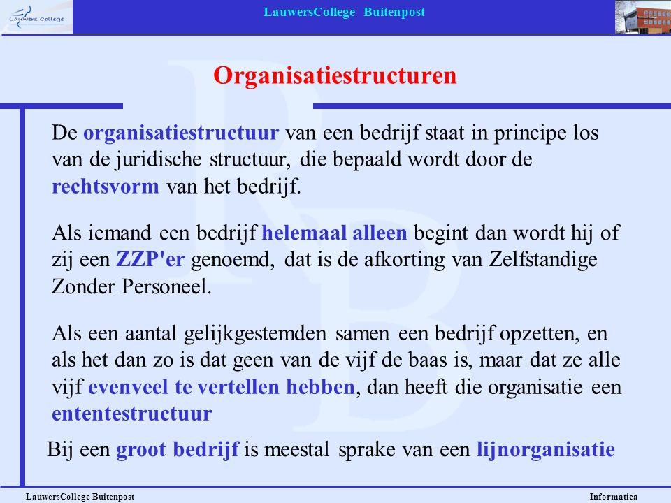 LauwersCollege Buitenpost LauwersCollege Buitenpost Informatica Organisatiestructuren De organisatiestructuur van een bedrijf staat in principe los va