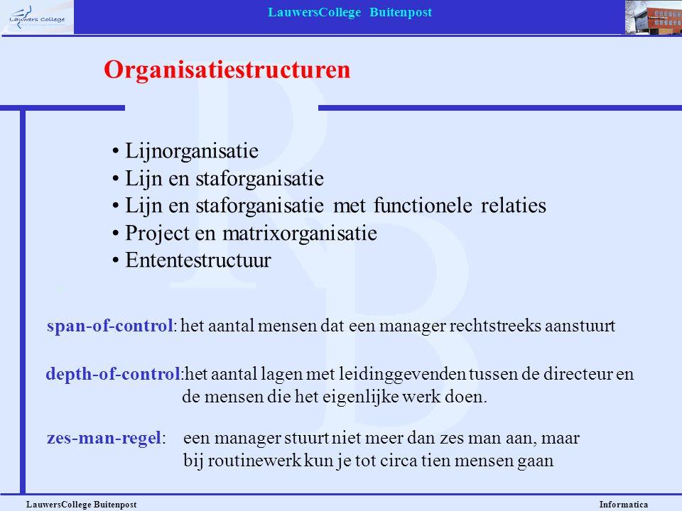 LauwersCollege Buitenpost LauwersCollege Buitenpost Informatica • Lijnorganisatie • Lijn en staforganisatie • Lijn en staforganisatie met functionele