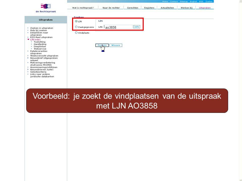 Voorbeeld: je zoekt de vindplaatsen van de uitspraak met LJN AO3858 ao3858