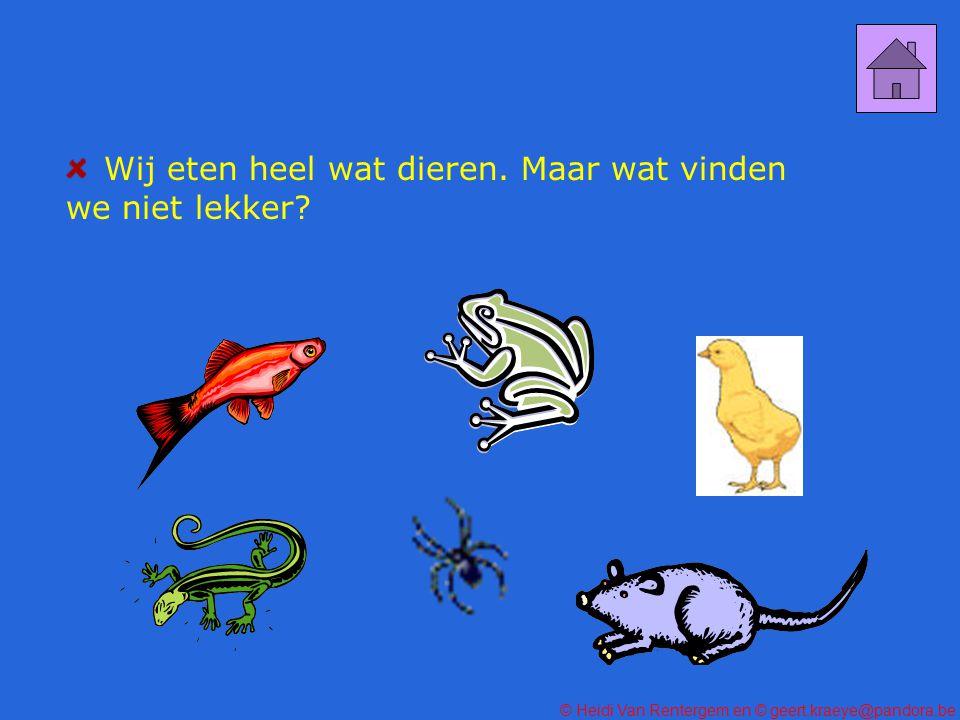 © Heidi Van Rentergem en © geert.kraeye@pandora.be Wij eten heel wat dieren.