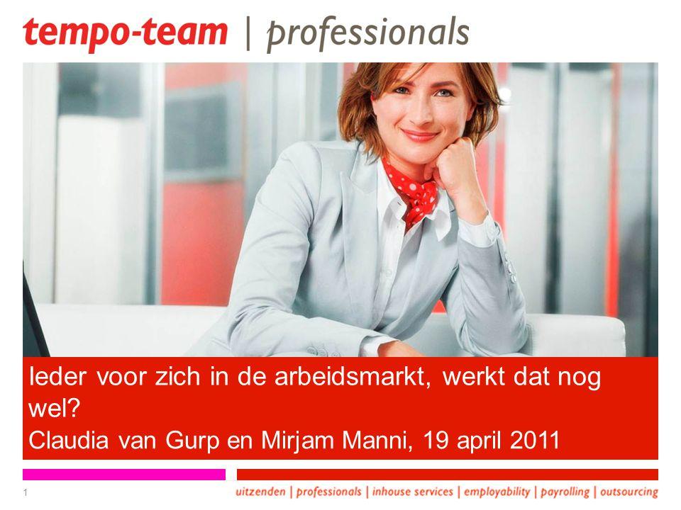 Ieder voor zich in de arbeidsmarkt, werkt dat nog wel? Claudia van Gurp en Mirjam Manni, 19 april 2011 1