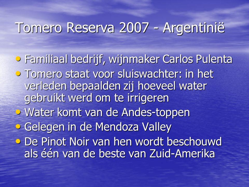 Tomero Reserva 2007 - Argentinië • Familiaal bedrijf, wijnmaker Carlos Pulenta • Tomero staat voor sluiswachter: in het verleden bepaalden zij hoeveel