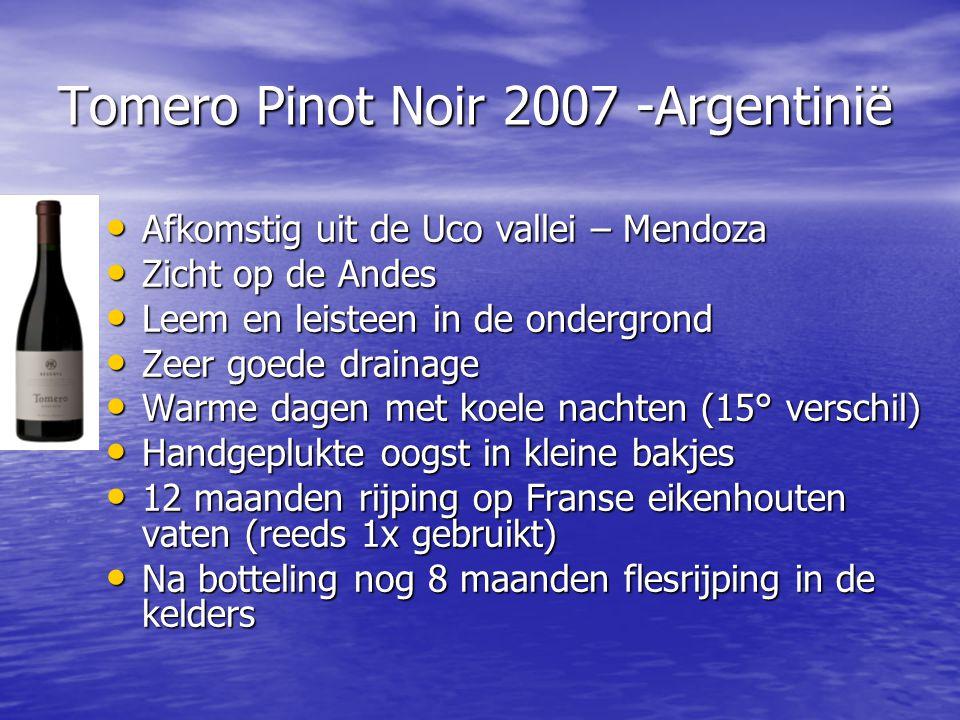 Tomero Pinot Noir 2007 -Argentinië • Afkomstig uit de Uco vallei – Mendoza • Zicht op de Andes • Leem en leisteen in de ondergrond • Zeer goede draina