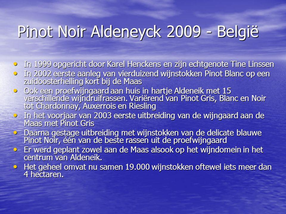Pinot Noir Aldeneyck 2009 - België • In 1999 opgericht door Karel Henckens en zijn echtgenote Tine Linssen • In 2002 eerste aanleg van vierduizend wij