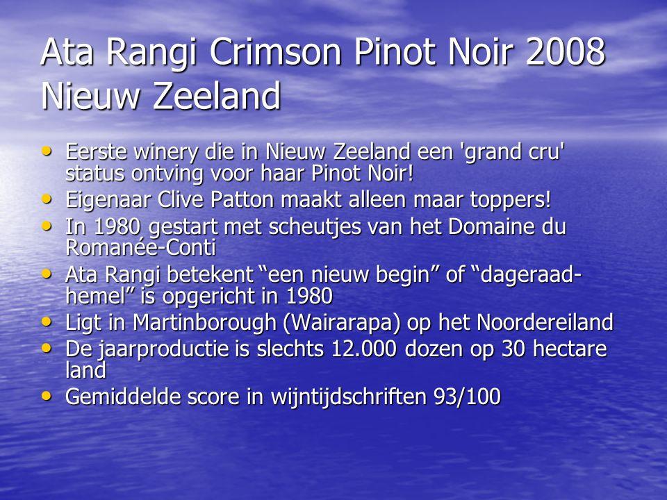 Ata Rangi Crimson Pinot Noir 2008 Nieuw Zeeland • Eerste winery die in Nieuw Zeeland een 'grand cru' status ontving voor haar Pinot Noir! • Eigenaar C