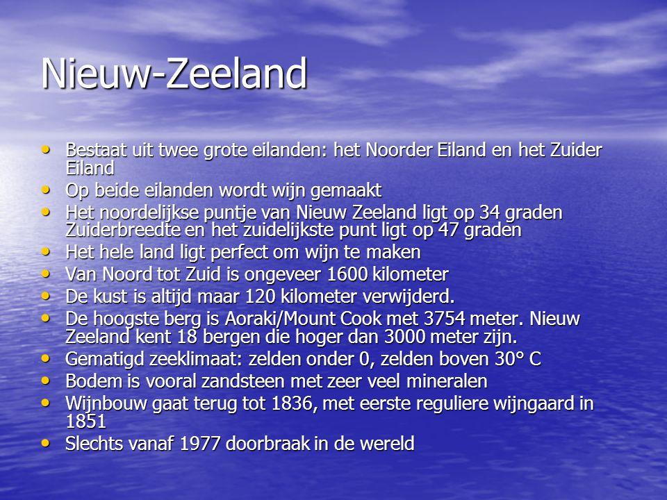 Nieuw-Zeeland • Bestaat uit twee grote eilanden: het Noorder Eiland en het Zuider Eiland • Op beide eilanden wordt wijn gemaakt • Het noordelijkse pun