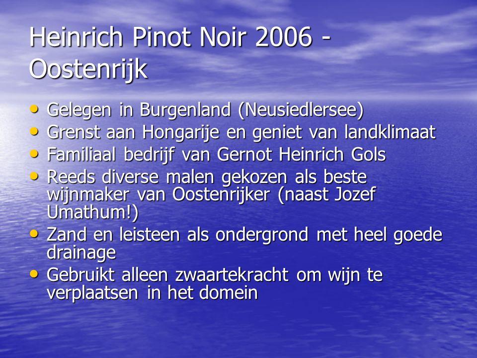 Heinrich Pinot Noir 2006 - Oostenrijk • Gelegen in Burgenland (Neusiedlersee) • Grenst aan Hongarije en geniet van landklimaat • Familiaal bedrijf van