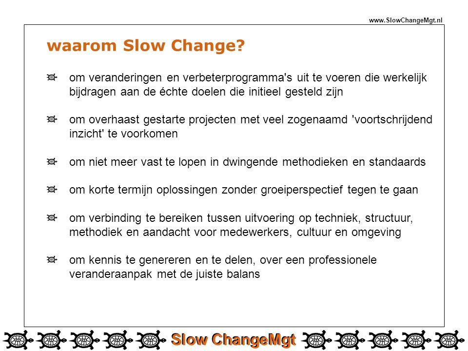 Slow ChangeMgt waarom Slow Change? om veranderingen en verbeterprogramma's uit te voeren die werkelijk bijdragen aan de échte doelen die initieel gest