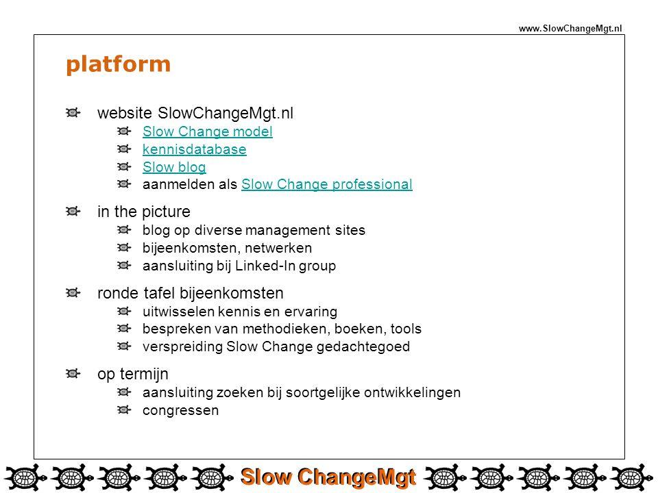 Slow ChangeMgt www.SlowChangeMgt.nl platform website SlowChangeMgt.nl Slow Change model kennisdatabase Slow blog aanmelden als Slow Change professiona