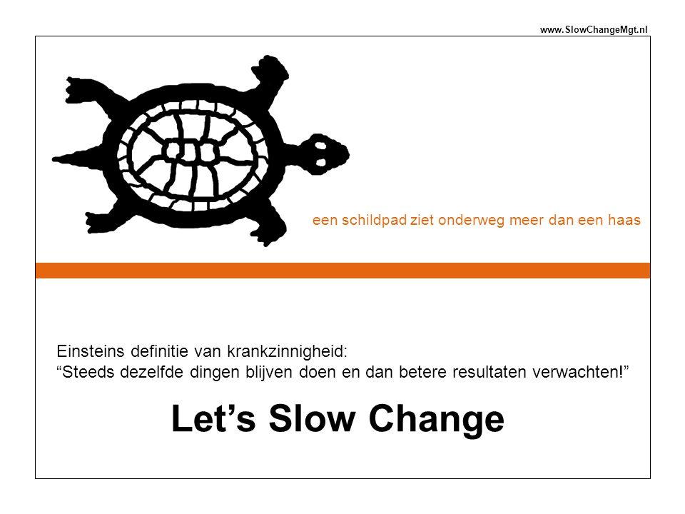 """een schildpad ziet onderweg meer dan een haas www.SlowChangeMgt.nl Einsteins definitie van krankzinnigheid: """"Steeds dezelfde dingen blijven doen en da"""