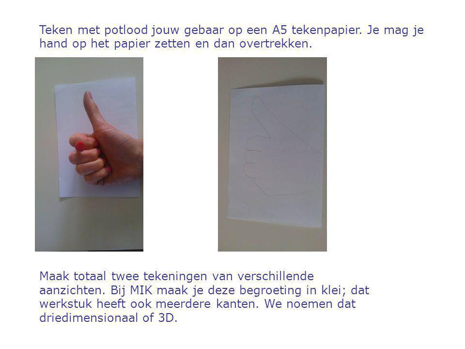Teken met potlood jouw gebaar op een A5 tekenpapier. Je mag je hand op het papier zetten en dan overtrekken. Maak totaal twee tekeningen van verschill