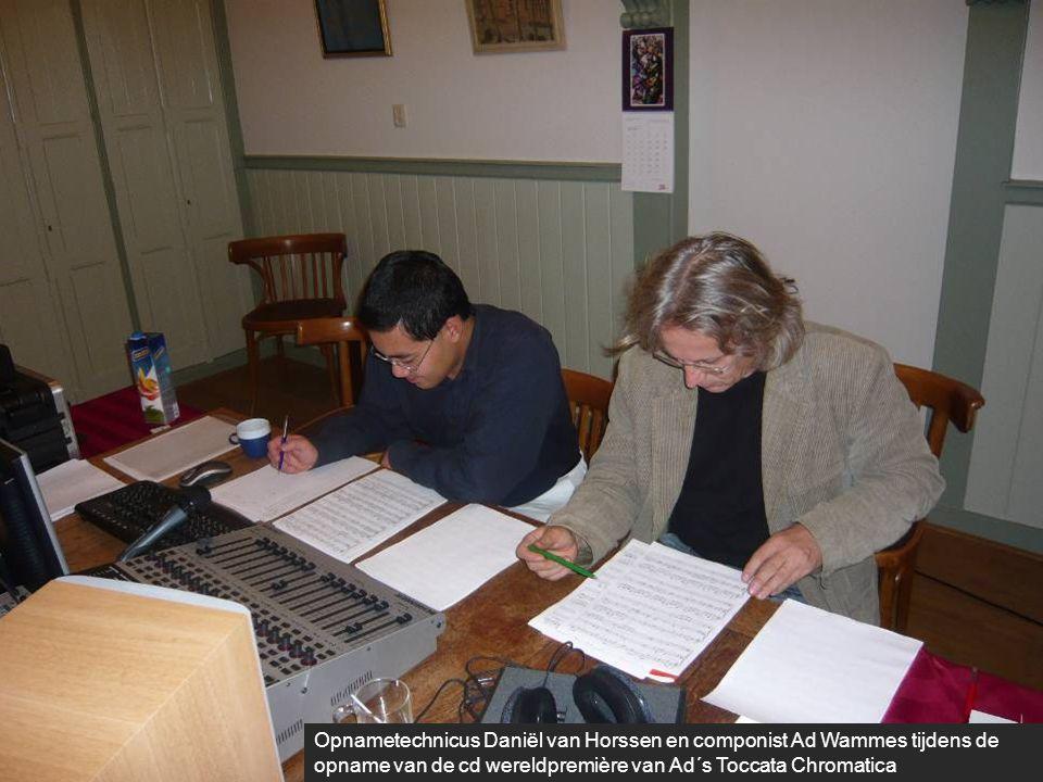 Opnametechnicus Daniël van Horssen en componist Ad Wammes tijdens de opname van de cd wereldpremière van Ad´s Toccata Chromatica