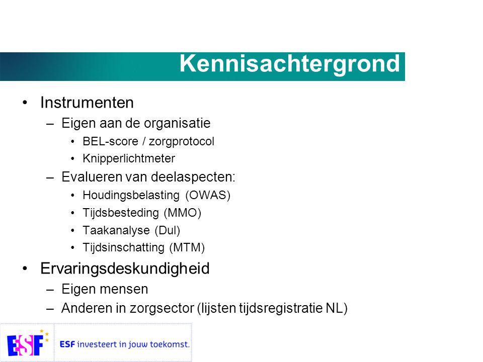 Kennisachtergrond •Instrumenten –Eigen aan de organisatie •BEL-score / zorgprotocol •Knipperlichtmeter –Evalueren van deelaspecten: •Houdingsbelasting (OWAS) •Tijdsbesteding (MMO) •Taakanalyse (Dul) •Tijdsinschatting (MTM) •Ervaringsdeskundigheid –Eigen mensen –Anderen in zorgsector (lijsten tijdsregistratie NL)