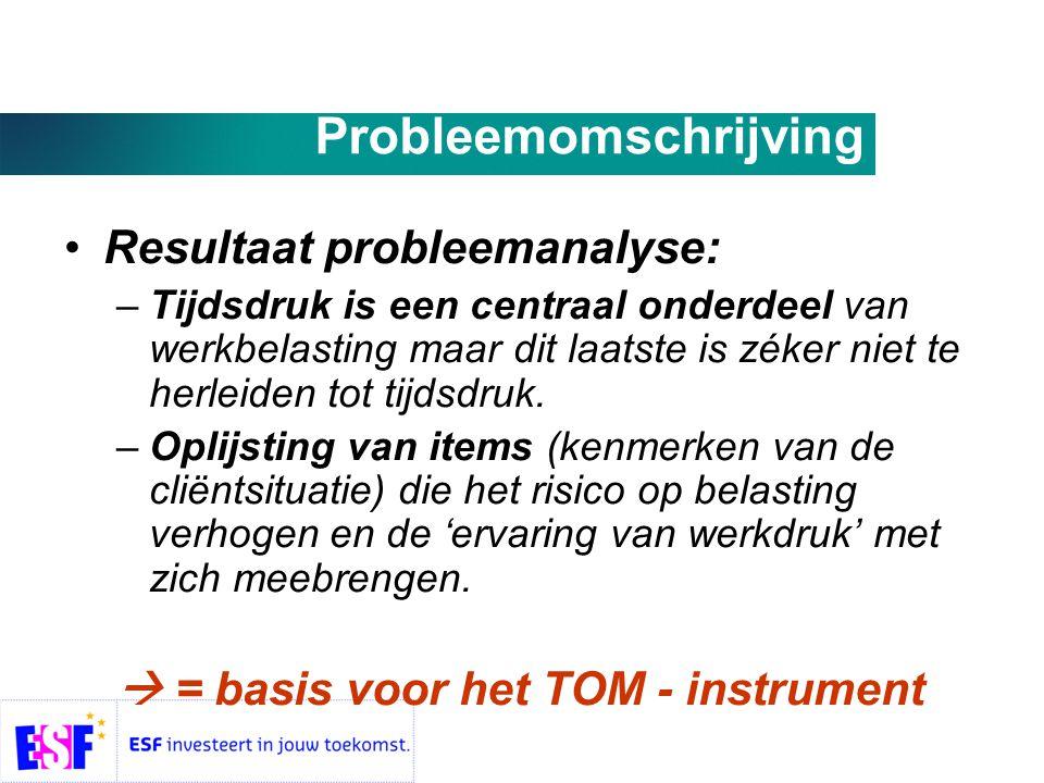 Probleemomschrijving •Resultaat probleemanalyse: –Tijdsdruk is een centraal onderdeel van werkbelasting maar dit laatste is zéker niet te herleiden tot tijdsdruk.