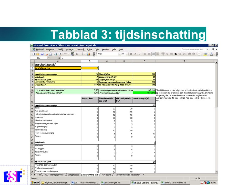 Tabblad 3: tijdsinschatting