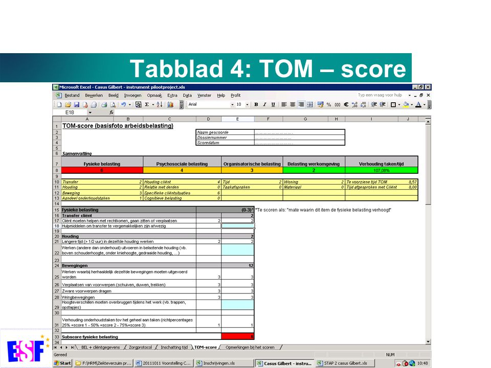 Tabblad 4: TOM – score