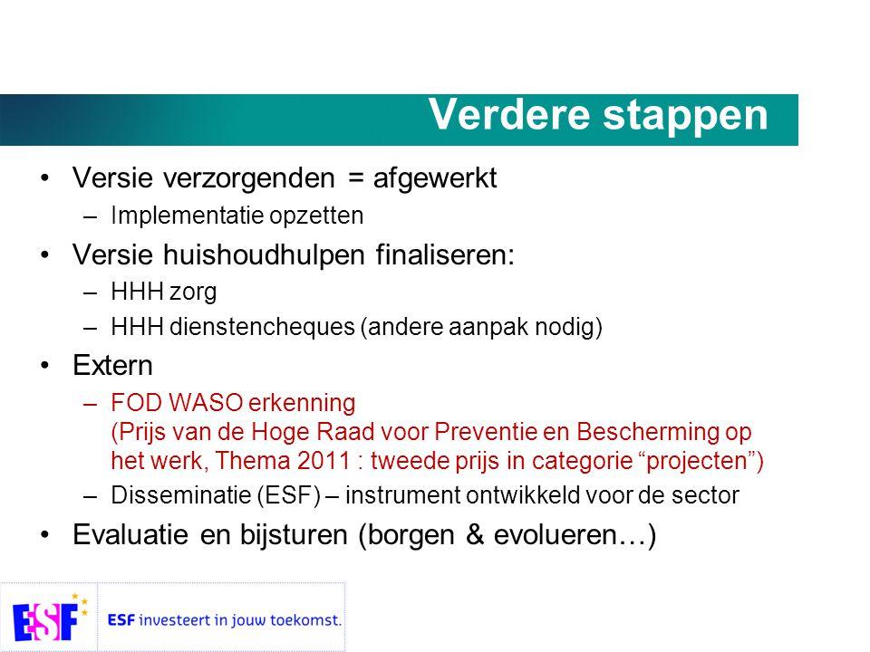 Verdere stappen •Versie verzorgenden = afgewerkt –Implementatie opzetten •Versie huishoudhulpen finaliseren: –HHH zorg –HHH dienstencheques (andere aanpak nodig) •Extern –FOD WASO erkenning (Prijs van de Hoge Raad voor Preventie en Bescherming op het werk, Thema 2011 : tweede prijs in categorie projecten ) –Disseminatie (ESF) – instrument ontwikkeld voor de sector •Evaluatie en bijsturen (borgen & evolueren…)