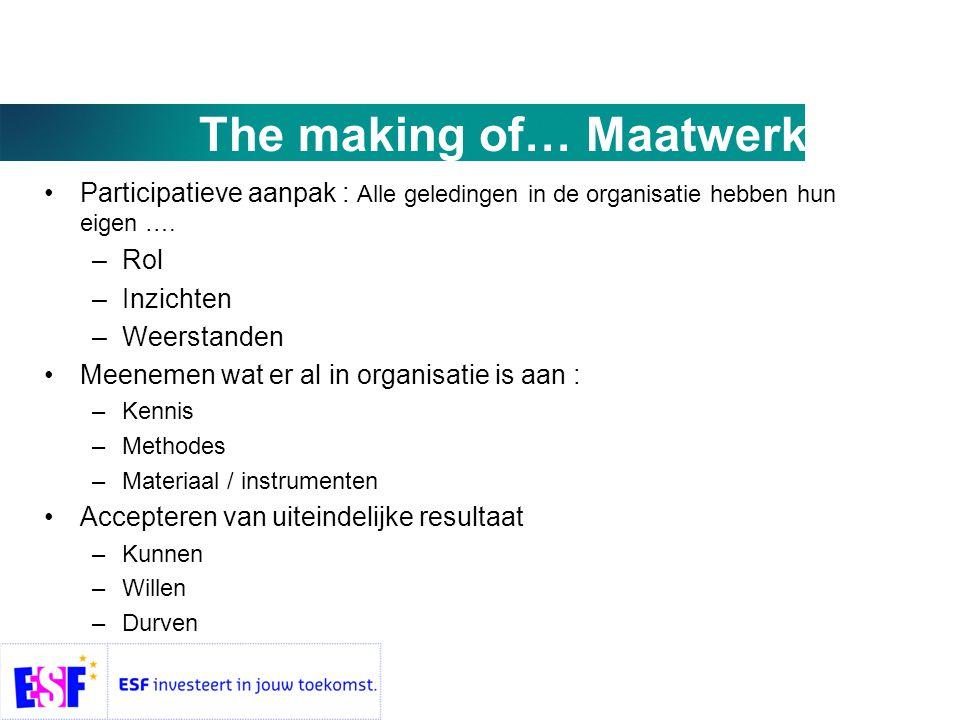 The making of… Maatwerk •Participatieve aanpak : Alle geledingen in de organisatie hebben hun eigen ….