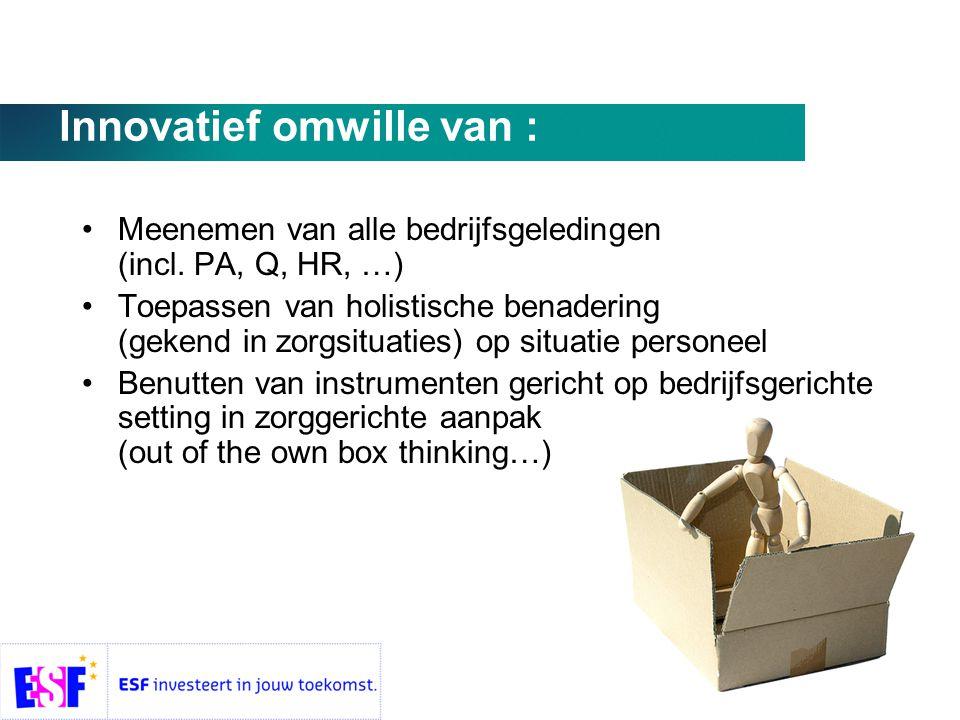 Innovatief omwille van : •Meenemen van alle bedrijfsgeledingen (incl.