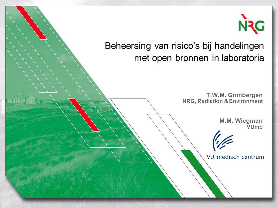 Beheersing van risico's bij handelingen met open bronnen in laboratoria T.W.M. Grimbergen NRG, Radiation & Environment M.M. Wiegman VUmc