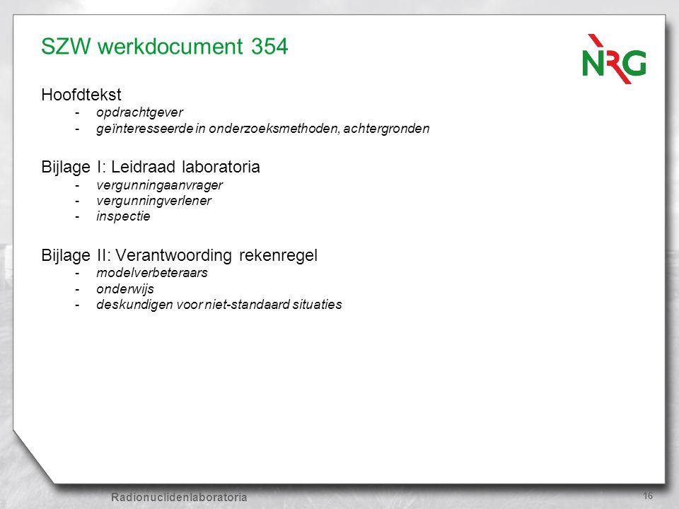 Radionuclidenlaboratoria 16 SZW werkdocument 354 Hoofdtekst -opdrachtgever -geïnteresseerde in onderzoeksmethoden, achtergronden Bijlage I: Leidraad l