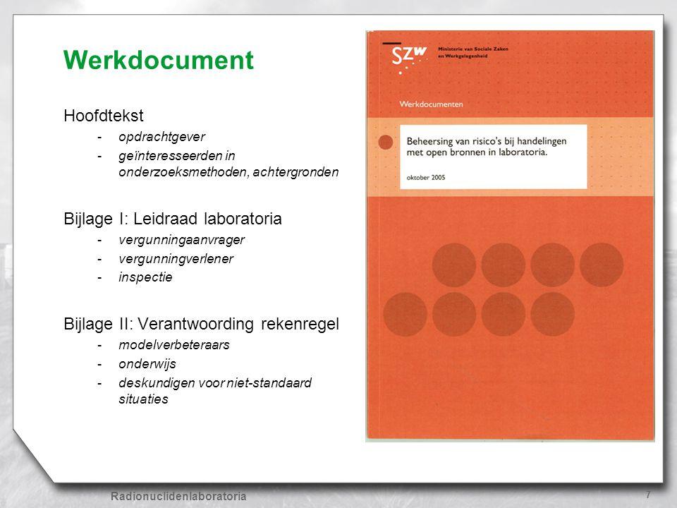 Radionuclidenlaboratoria 7 Werkdocument Hoofdtekst -opdrachtgever -geïnteresseerden in onderzoeksmethoden, achtergronden Bijlage I: Leidraad laborator