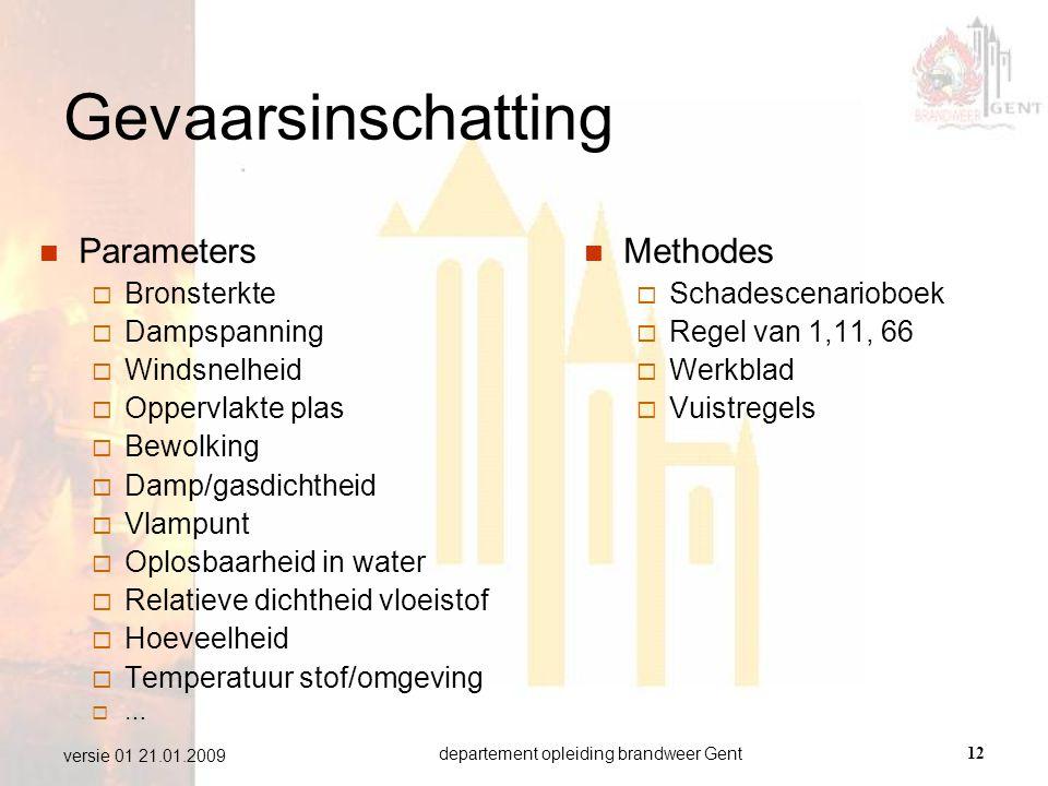 departement opleiding brandweer Gent12 versie 01 21.01.2009 Gevaarsinschatting  Parameters  Bronsterkte  Dampspanning  Windsnelheid  Oppervlakte