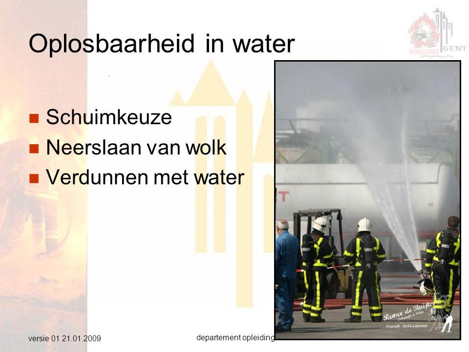 departement opleiding brandweer Gent19 versie 01 21.01.2009 Oplosbaarheid in water  Schuimkeuze  Neerslaan van wolk  Verdunnen met water