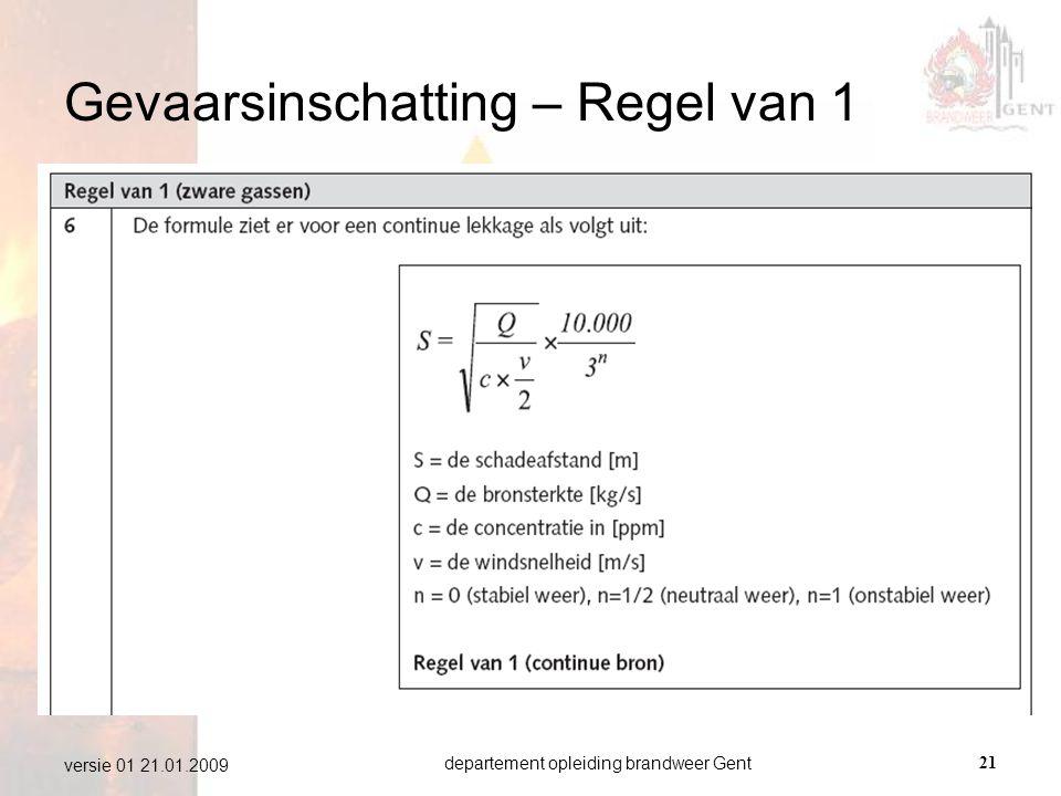departement opleiding brandweer Gent21 versie 01 21.01.2009 Gevaarsinschatting – Regel van 1