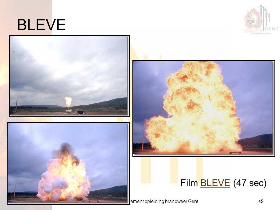 departement opleiding brandweer Gent45 versie 01 21.01.2009 BLEVE Film BLEVE (47 sec)