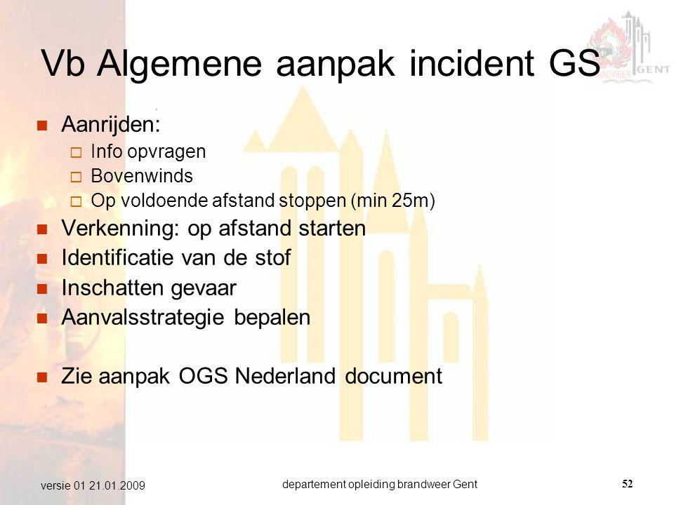 departement opleiding brandweer Gent52 versie 01 21.01.2009 Vb Algemene aanpak incident GS  Aanrijden:  Info opvragen  Bovenwinds  Op voldoende af
