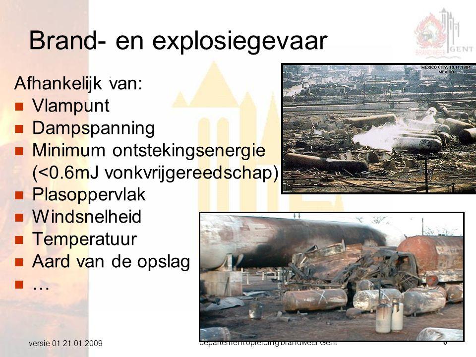 departement opleiding brandweer Gent6 versie 01 21.01.2009 Brand- en explosiegevaar Afhankelijk van:  Vlampunt  Dampspanning  Minimum ontstekingsen